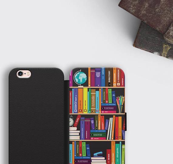 Bookshelf IPhone 8 Plus Wallet Case Literary Gift Samsung