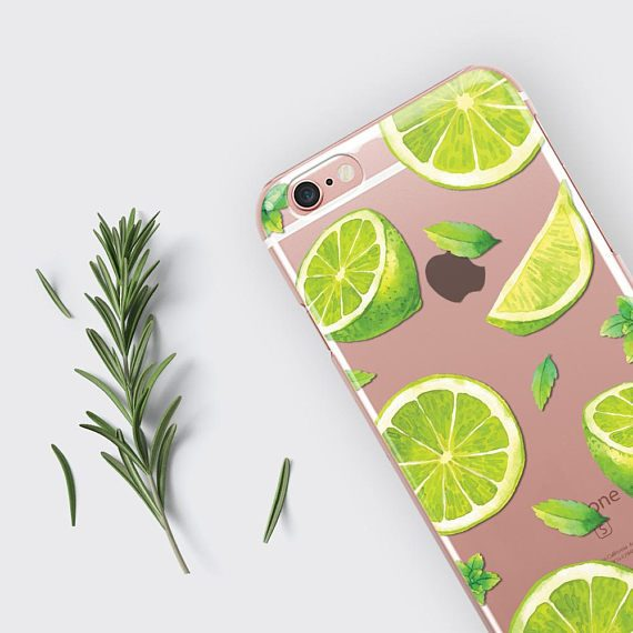 Cute iPhone 7 Case Clear iPhone 6 Case Lime Green iPhone 6S Plus Case