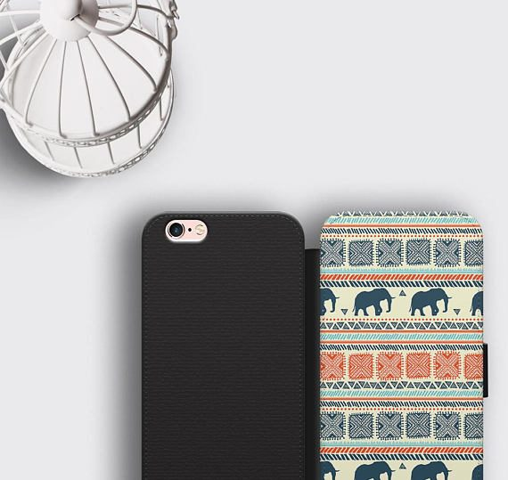 Elephant iPhone 7 Plus Wallet Case Animal Lover Gift Samsung S8 Leather Wallet Case