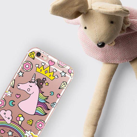 Rainbow Unicorn Clear Phone Case Tumblr iPhone 7 Case