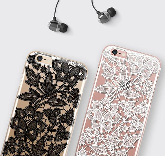 Transparent Samsung Galaxy S8 Plus Case, Lace Samsung Galaxy S7 Edge Case