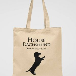 Dachshund Tote Bag Sausage Dog Print Shoulder Bag