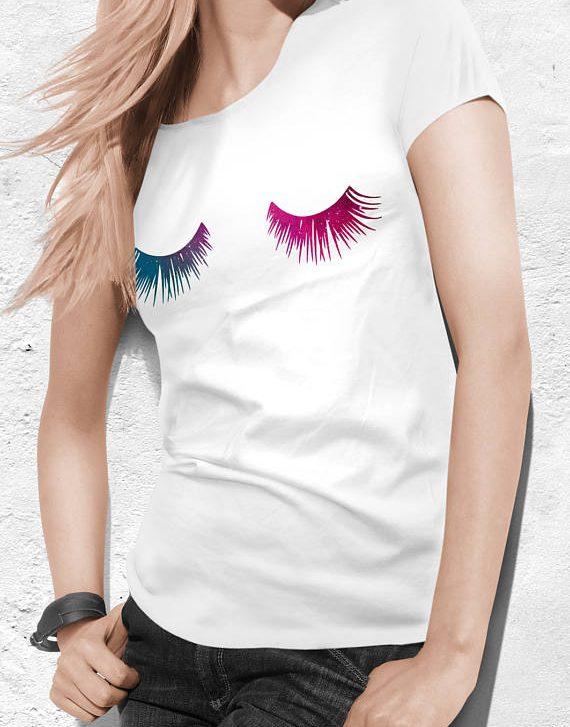 Eyelashes Shirt Lashes Tumblr Top Tshirt Eyelashes Print Women tee Shirt