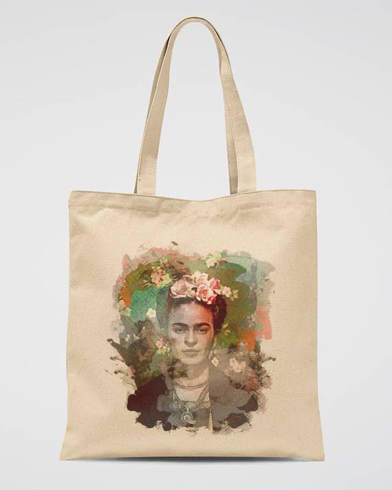 Frida Kahlo Canvas Tote Bag Vintage Style Cotton Bag