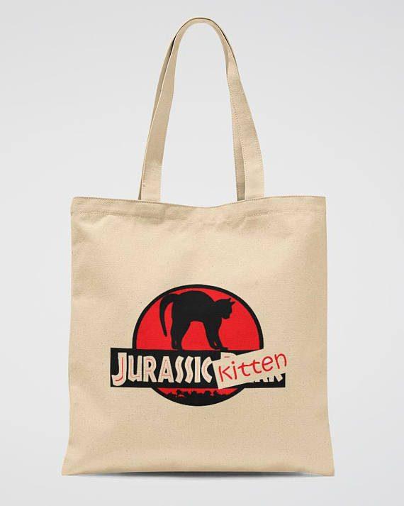 Jurassic Park Beige Tote Bag Funny Jurassic Kitten Bag