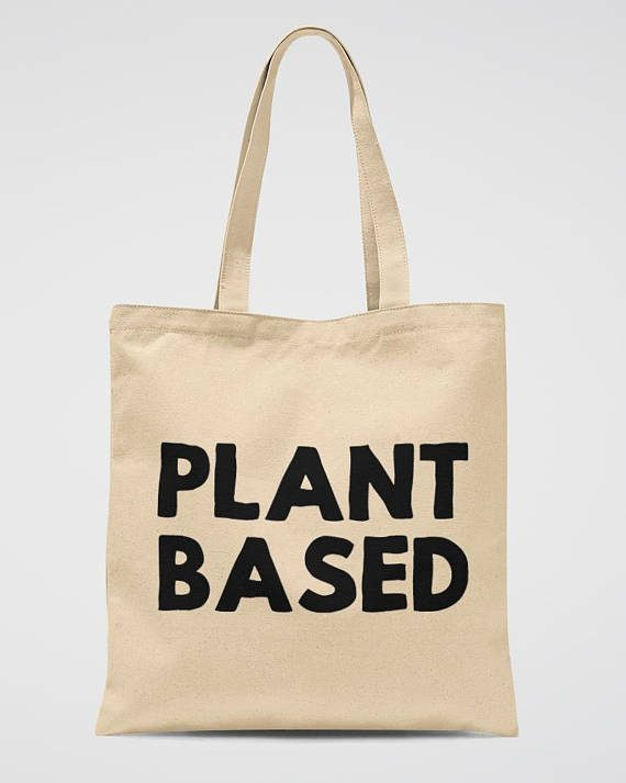 Plant Based Tote Bag Vegetarian Gift Canvas Bag