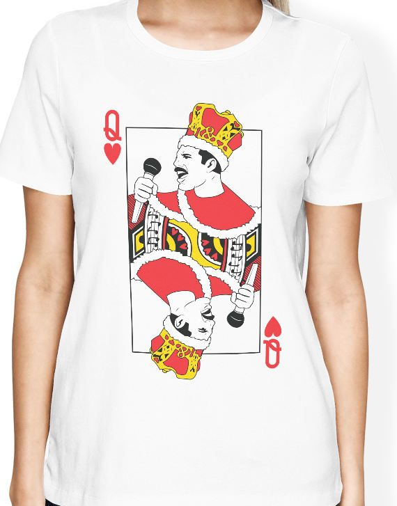 Queen Band shirt Freddie Mercury t shirt with playing card