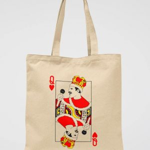 Queen Band Tote Bag Freddie Mercury Canvas Tote Bag with playing card