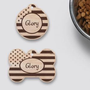 American Wood Flag Dog ID Tag