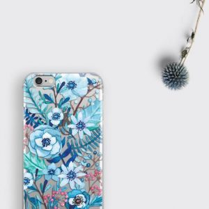 Blue Floral Flowers iPhone XS Clear Case, Samsung Galaxy S9 Plus Floral Transparent Case iPhone 7 Plus Cover iPhone 6s Case