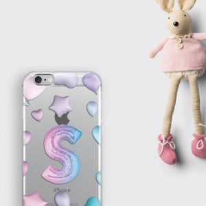Custom Personalized iPhone 8 Plus Case Party Balloons Letters iPhone XS Case Clear Monogram Samsung S8 Phone Cover