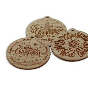 Our First Christmas Personalized Vintage Style Wood Engraved Ornaments Set of 3 Packs